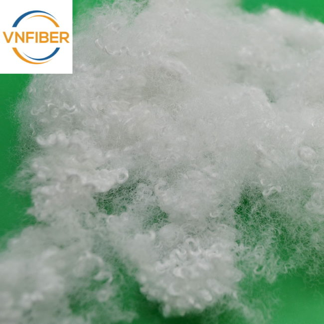 recycled polyester staple fiber 15D 64mm hollow conjugated siliconized
